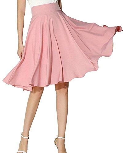 Morbuy Jupe Femme Taille Elastique Mi-Longue L't Jupe Taille Haute lgante Jupe Pliss Casual Cocktail. Rose