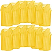 Keenso 12 Pack Pinnies Adult Scrimmage Training Vests, Breathable Yellow Mesh Adults Jerseys Bibs Scrimmage Tr