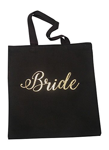 The Spoiled Office Wedding Party Bridal Tote Bag with Gold Lettering - Heavyweight, Large Canvas 15'' x 16'' (Bride in Black) by The Spoiled Office