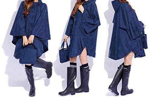 Donna Kleines Chic Dot Blau Con Pattern Da Yasminey Poncho Pioggia Impermeabile Giovane Cerniera qwPOAOE