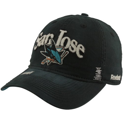 Reebok San Jose Sharks Garment Wash Adjustable Slouch Hat - Black