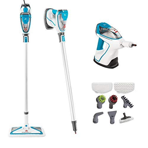 Bissell PowerFresh Slim Hard Wood Floor Steam Cleaner System, Steam Mop, Handheld Steamer and Scrubbing Tools, and Clothing Steamer Tool, - Pad Scrub Floor 13 Blue