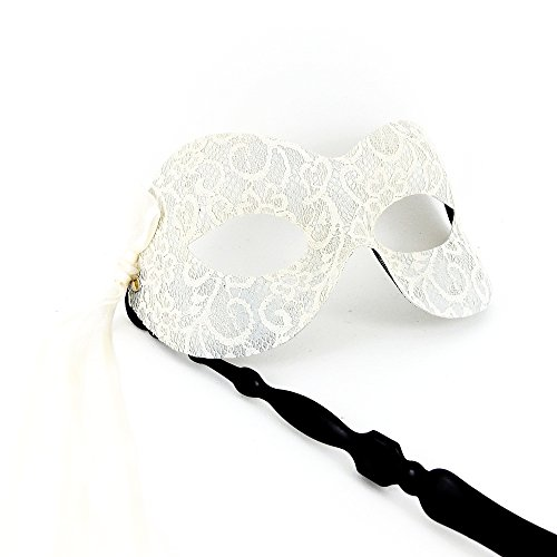 Samantha Peach Pure Lace Masquerade Mask - Exclusive to Ivory (with Stick)