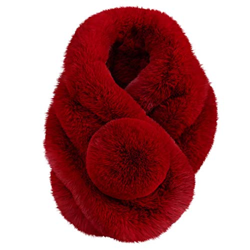 HULKAY Fashion Scarves Upgrade Winter Warm Faux Fur Scarf Shawls for Womens(Red)