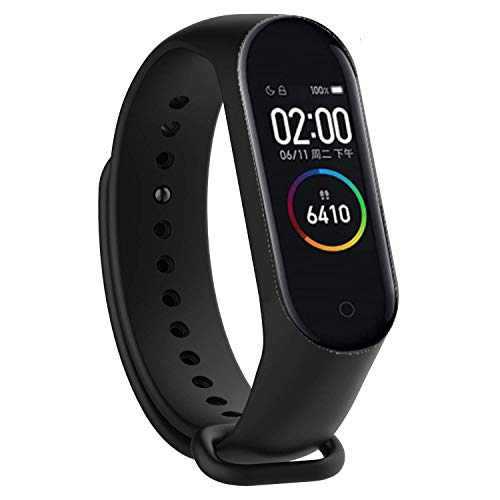 M4 Smart Band 4 Watch Bluetooth Fitness Activity Tracker AMOLED Full-Touch Screen Waterproof with Music Control and Unlimited Watch Faces [2021 Upgrade] - Black