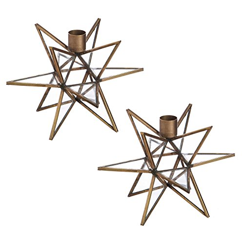 Cypress Home Brass Moravian Star Metal Taper Candle Holders, Set of (Brass Candlestick Holder)