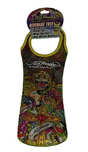 Ed Hardy By Christian Audigier Neoprene Reusable Wine Bottle Tote Gift Bag, Tattoo for Men, Women (Cross) by Ed Hardy