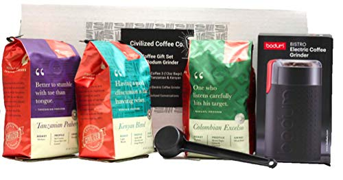 Coffee Gift Box, Premium Coffee Grinder And A Bundle Of 3 Gourmet Whole Bean Coffees (Colombian Excelso, Tanzania Peaberry & Kenyan Blend) By Civilized Coffee