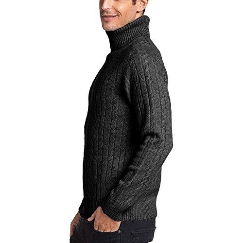 Parisbonbon Men's 100% Cashmere Turtleneck Sweater Color Dark Gray Size L by Parisbonbon (Image #1)