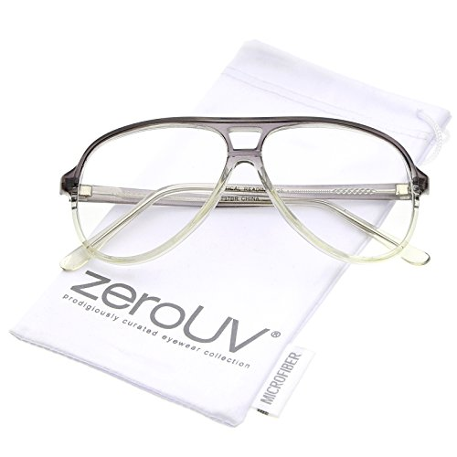 zeroUV - Retro Transparent Flat Top Teardrop Clear Lens Aviator Eyeglasses 56mm (Smoke-Clear / - Plastic Glasses Aviator