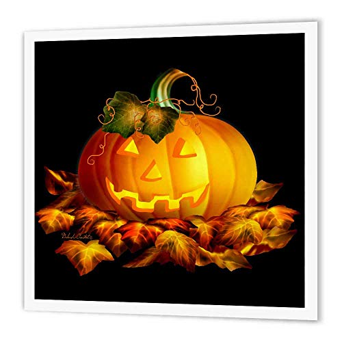 3dRose ht_11657_3 Glowing Jackolantern and Autumn Leaves on Halloween Night-Iron on Heat Transfer Paper for White Material, 10 by 10-Inch