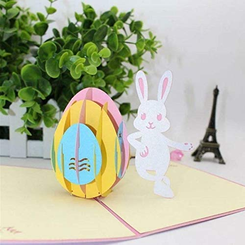 - 1 PCS 3D Bunny and Easter Egg Cutouts Pop Up Easter Cards Handmade Greeting Card
