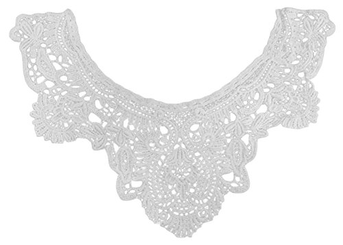 Taloyer Women Fashion White Floral Lace Neckline Sew on Applique Collar Trim DIY Clothing Accessories