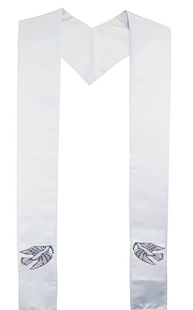 Dove of Peace Satin Clergy Stole for Ministers & Weddings (80'' Standard Long, White)