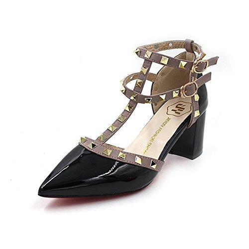 Vlad Konovalov Women Pumps Rivet Slingback Studs Straps Stilettos High Heels Pointed Toe (Pointed Toe Slingback Heels)