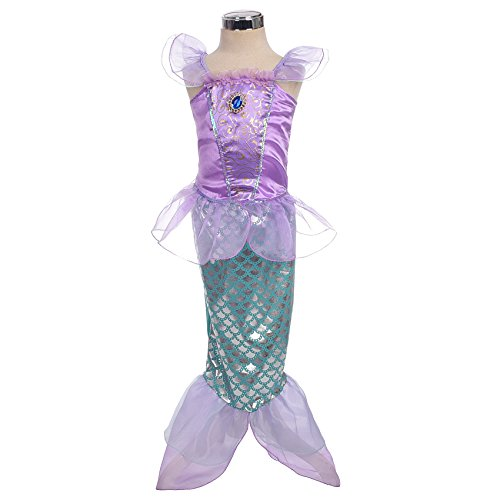 [Dressy Daisy Girls' Princess Mermaid Fairy Tales Costume Cosplay Fancy Dress Party Outfit Size 4-5] (Mermaid Dress For Girl)