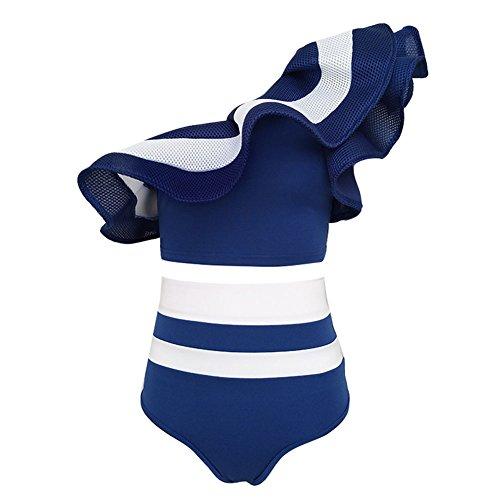 Highdas Mujer Stripe un hombro volante bikini establece Hiagh cintura traje de baño Tankini Azul