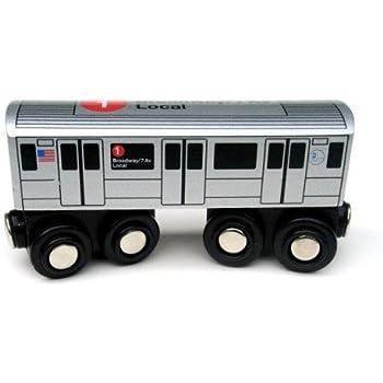 Amazon Com Munipals Nyc Subway 1 Car Toy Train Wooden Railway