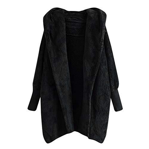 Womens Sherpa Coats Winter Faux Fur Button Jacket Fluffy Tail Tops Hooded Pullover Pea Outwear