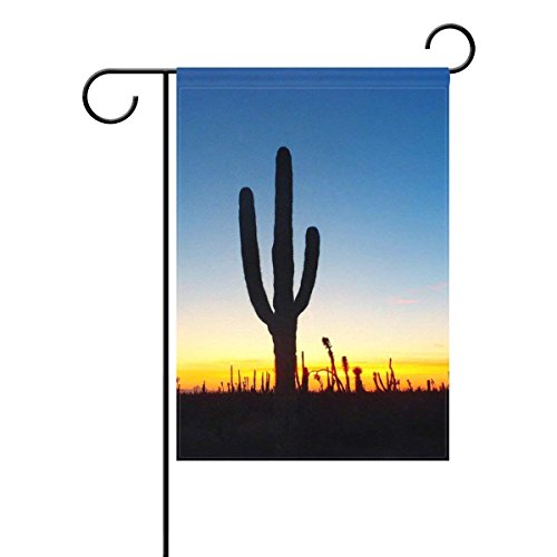 Home Desert Sunset Cactus Polyester Fabric Garden Flags Love
