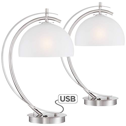 Calvin Modern Table Lamps Set of 2 with USB Charging Port Brushed Steel White Glass Shade for Living Room Bedroom - Possini Euro Design (Glass Bedrooms)