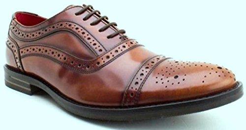 Base London Waltham Tan HombresCuero Oxford Brogue Zapatos