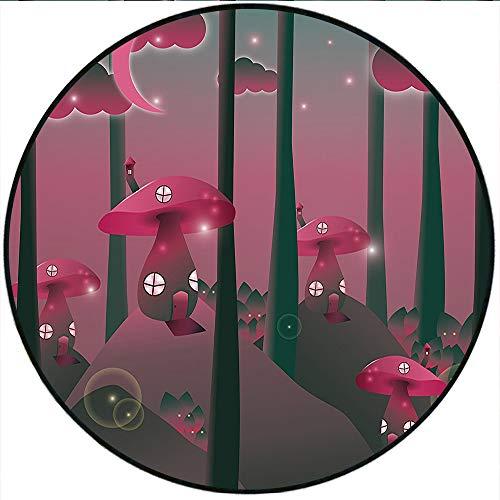 Short Plush Baby Crawling mats Mushroom Mystical Magic Landscape Hills Trees Mushroom Houses Crescent Moon Night Sky Jade Green Pink Floor playmats Children's Room 51.1