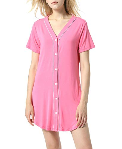 - L&Y Women's Nightshirt Short Sleeves Pajama Top Boyfriend Shirt Dress Sleepwear Nightgown PJ Pink