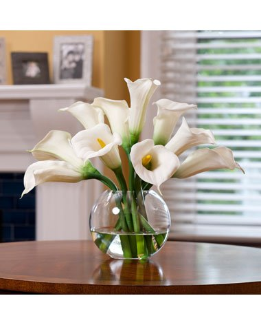 Calla Lily Silk Centerpiece - White by Petals Silkflowers