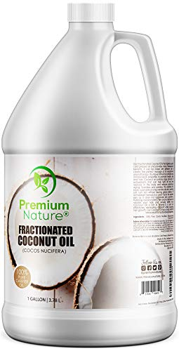 Fractionated Coconut Oil Massage Oils - Liquid MCT Natural & Pure Body Moisturizer Cold Pressed Carrier Massage Oil for Essential Oils Hair Face & Dry Skin 1 Gallon Value Bulk Size Clear ()
