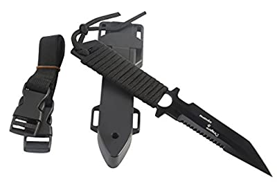 Dragon Squama Dive Knife - Tactical,Hunting,Survival Black Scuba Diving Sharp Blade Knives with Line Cutter,Razor Edge,ABS Sheath and Adjustable Leg Elastic Strap.(black ABS)