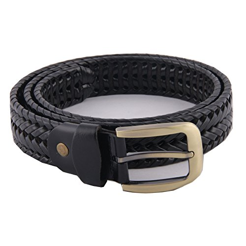 MIJIU Men's Braided Leather Belt 35mm Wide Black