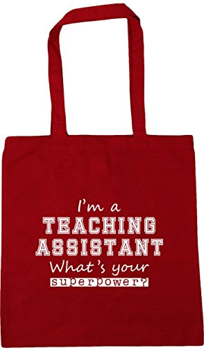 Shopping x38cm Superpower Gym A I'm 10 Teaching 42cm Tote Your Bag What's Classic litres Assistant Red HippoWarehouse Beach 48znOO