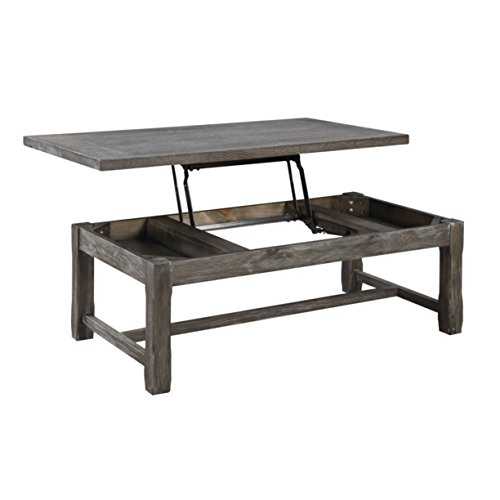 (Emerald Home Paladin Rustic Charcoal Gray Coffee Table with Lift Top Storage, Plank Style Top, And Farmhouse Timber Legs)