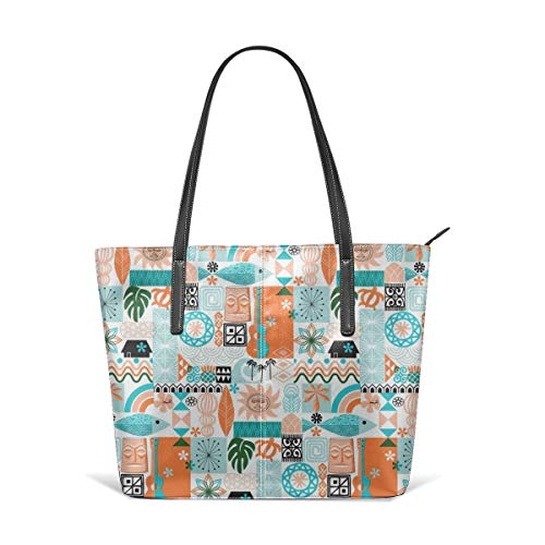 - Women's Soft Leather Tote Shoulder Bag Paila Hawaii Hawaiian Sun Beach Tropical Palm Trees Atomic Midcentury Modern Leaves Fashion Handbags Satchel Purse