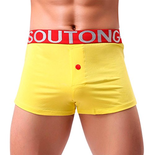 Hunzed Men Underpants, Men Transparent Underwear Sexy Boxer Briefs Shorts Bulge Pouch Soft Underpants (L2, Yellow) ()