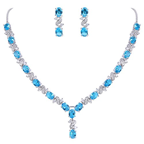 EleQueen Women's Silver-tone Cubic Zirconia Oval Shape Leaf Bridal Necklace Earrings Set Sky - Shapes Oval