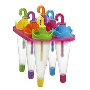 "JIAO- 6 Cells Umbrella Ice Cream Tray Cube Mould Mold with Stick(Random Color) , Plastic 6.4""x4.4""X6"""