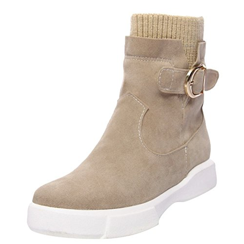 YE Damen Flache Schlupfstiefel mit Strick und Schnalle Bequem Modern Schuhe