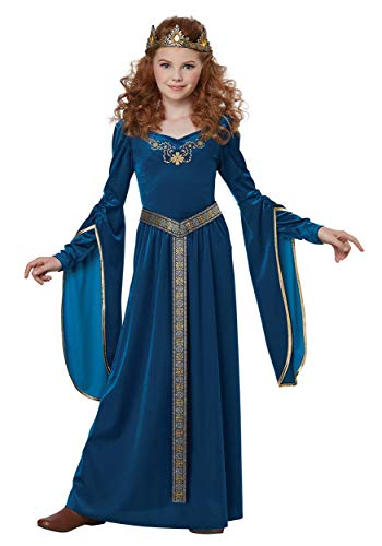 California Costumes Queen, Royalty, Renaissance, Knight Medieval Princess Girls Costume, Teal, -
