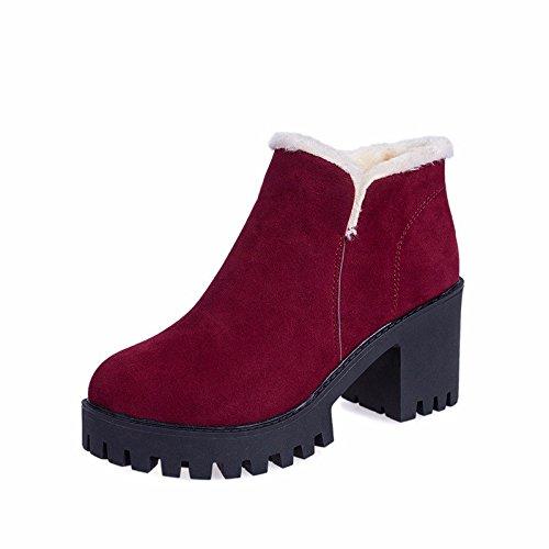 7b4cf3bd37f79 Las mujeres botas de invierno de cabeza redonda de terciopelo más alumnas zapatos  botas Martin funda irregular con botas cortas