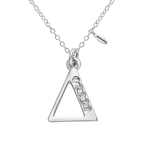 phabet Crystal Charm Silver Greek Letter Necklace Initial Necklace (Delta) ()