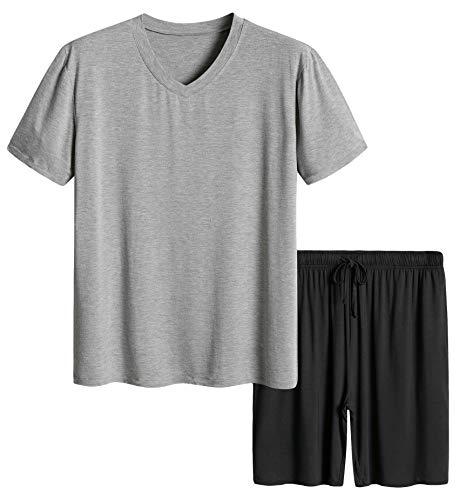 Latuza Men's Short Sleeves and Shorts Pajama Set S Light Gray & Black ()