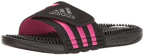 adidas Womens' Shoes | Adissage Slide Sandals, Black/Night Metallic/Shock Pink, (9 M US)