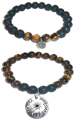 Hidden Hollow Beads Charm Tigers Eye and Black Lava Natural Stone Women's Yoga Beaded Stretch Bracelet Set. COMES IN A GIFT BOX! (You are my Sunshine) ()
