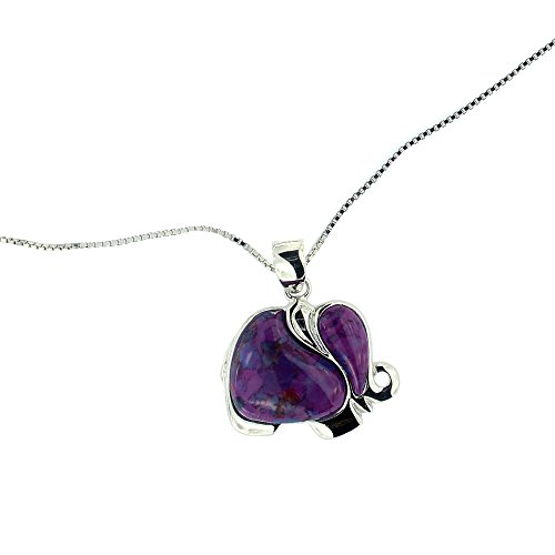 Rhodium Plated 925 Sterling Silver Purple Turquoise Gemstone Elephant 18