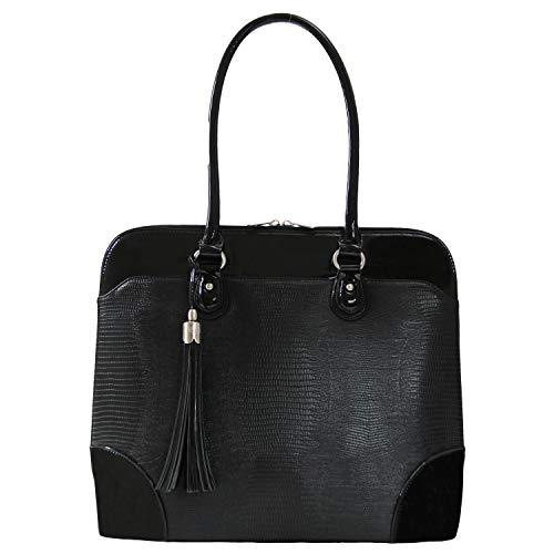 BFB Laptop Tote Bag for Women - Luxury Designer Laptop Shoulder Bag Computer Purse - Handmade Vegan Leather 13 Inch Laptop Bag Womens Work Bag Laptop Carrying Case Womens Tote Bags for Work - Black
