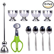 PROKITCHEN Stainless Steel Egg Shell Cracker Cutter Topper Set with Egg Cups and Egg Spoon for Removing Top of Soft Hard Boiled Eggs