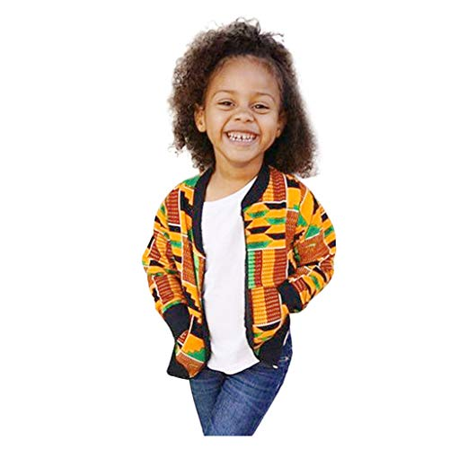 WOCACHI Toddler Kids Little Girls Boys Autumn Dashiki African Boho Windproof Coat Warm Outwear Jacket Festival Toys Games My First 1st Christmas Decoration Bomber Pregnant Woman Mini Boss Yellow (My Sleepsuit 1st Christmas)