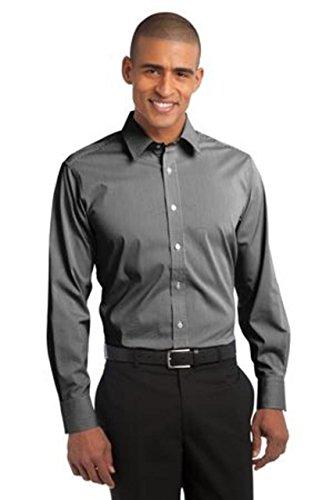 Port Authority Mens Stripe Stretch Poplin Shirt   Black  White S647 Xs